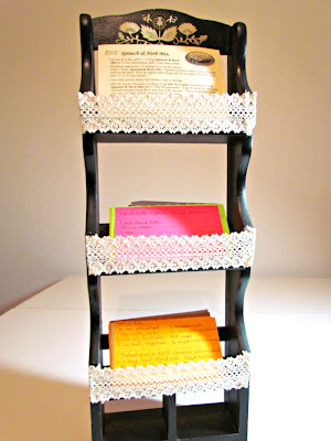 DIY Recipe Card Holder, Recipe Rack, Recipe Cards, Trash to Treasure, Junk Restyle, Spice Rack Transformation