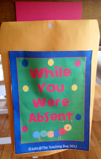 The Teaching Bug classroom organization absentee folders