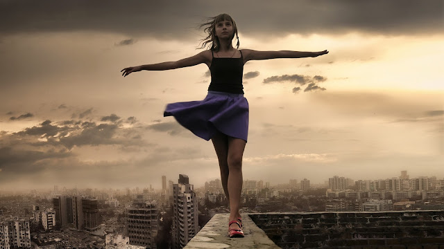 Beautiful Girl at City Roof Stretch Hands Wind Clouds HD Wallpaper