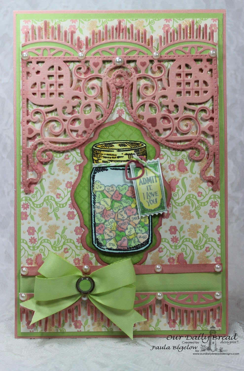Our Daily Bread Designs, Blue Ribbon Winner, Canning Jar Fillers, Free Admission,Chalkboard Lattice Background, Beautiful Borders Dies, Decorative Corners Dies, Antique Labels and Borders Dies, Canning Jars Dies, Mini Tag Dies, Designed by Paula Bigelow