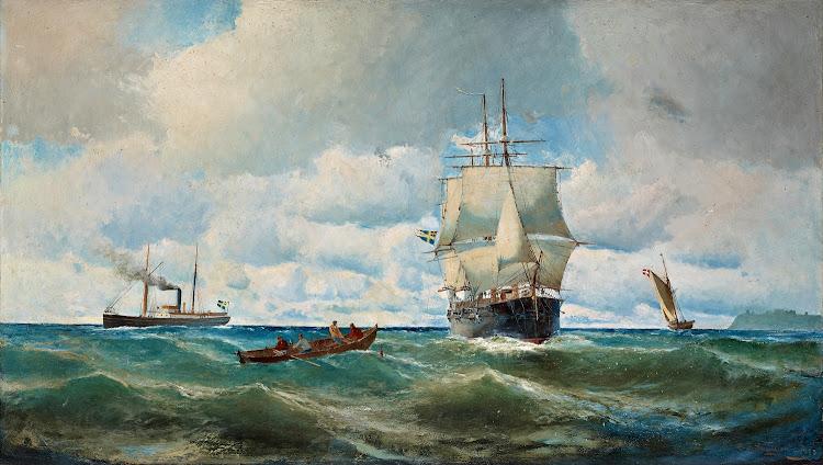 Christian Fredrik Swensson - Marin med segelfartyg motiv fran oresund