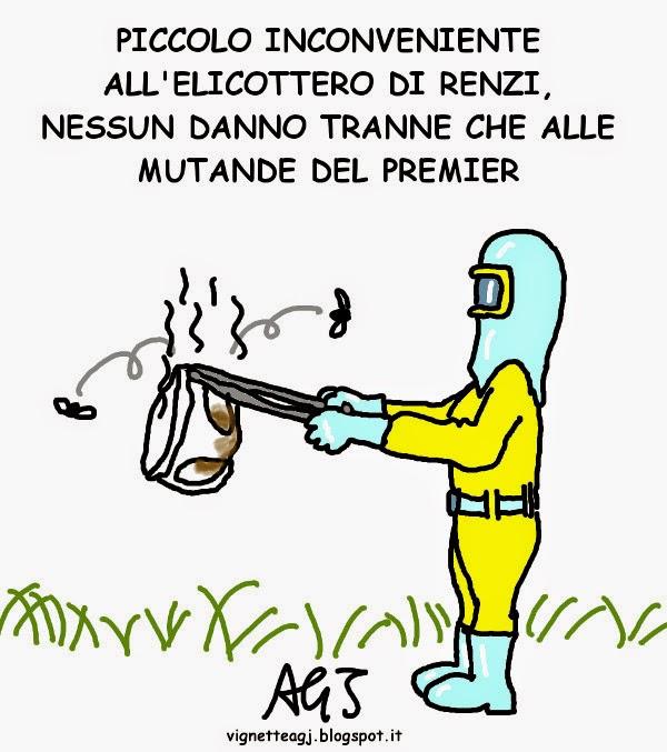 Renzi, elicottero, satira , vignetta