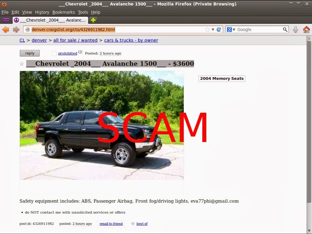 Craigslist Car Scam List for 02/10/2014 | Vehicle Scams ...