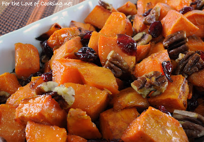 Roasted Yams with Dried Cranberries and Pecans