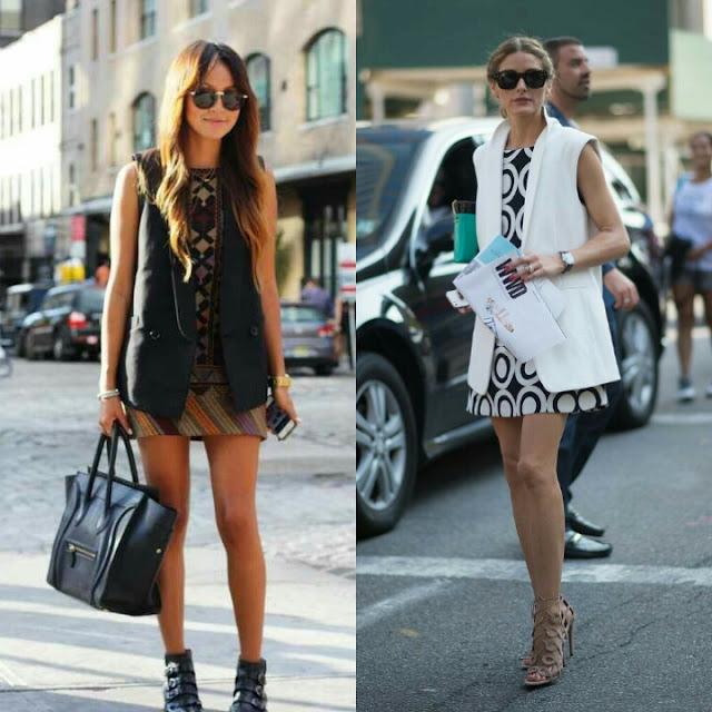 Colete longo com vestido