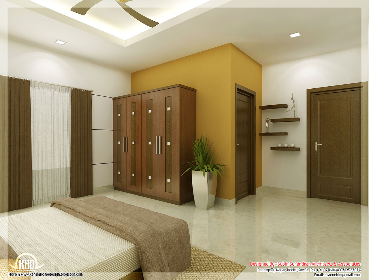 Beautiful bedroom interior designs kerala house design for 2 bhk interior decoration