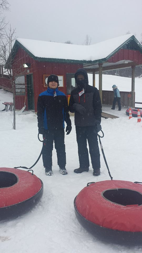 CRUZ and SHEMI; TUBING IN BUCK HILL, MINNESOTA