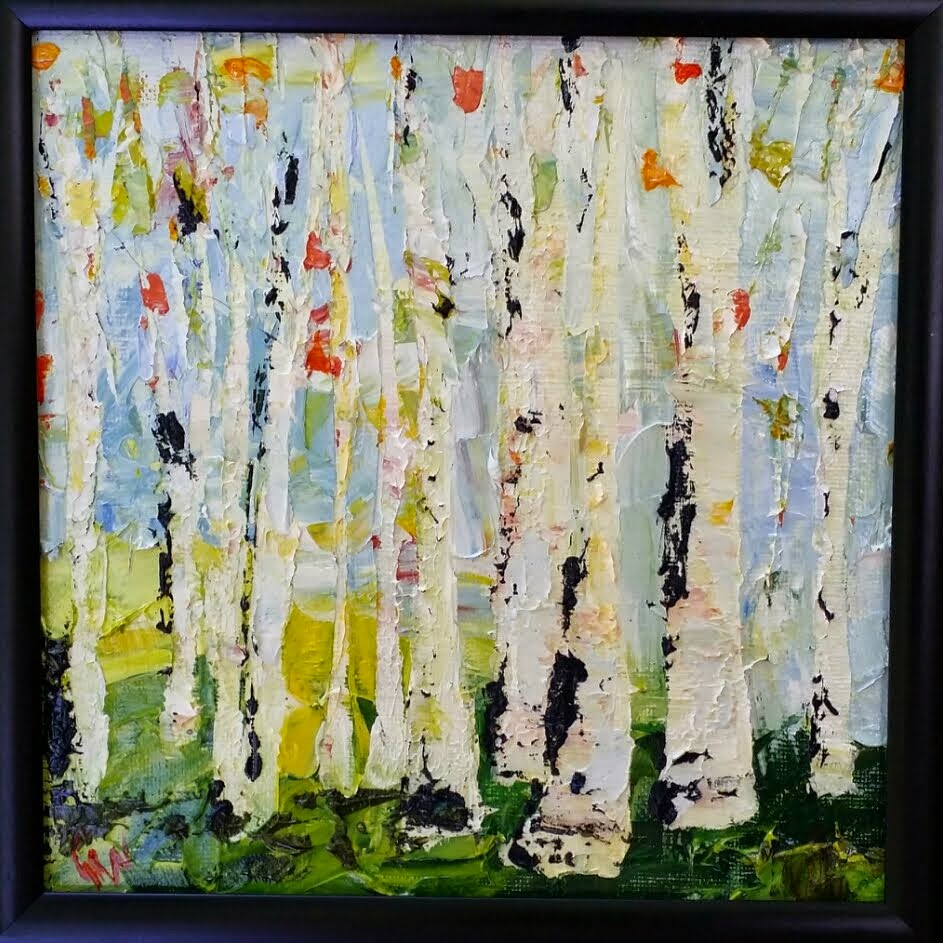 Four Small Square Birch Paintings