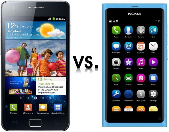 Nokia N9 y Samsung Galaxy
