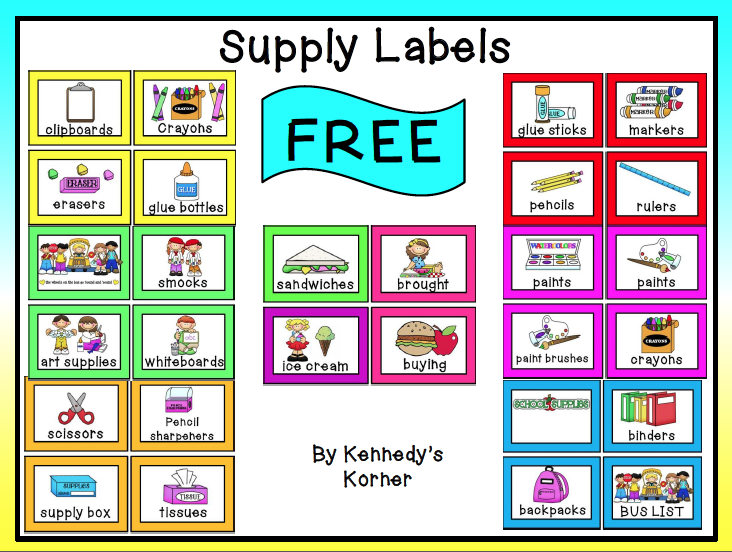 Free misc lesson back to school supply labels free