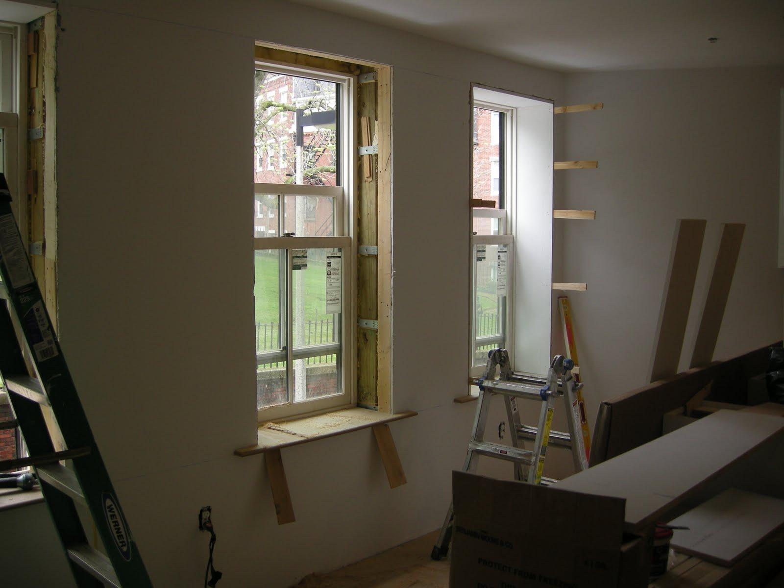 Redbrickbuilding starting the finish carpentry for the for Drywall around windows