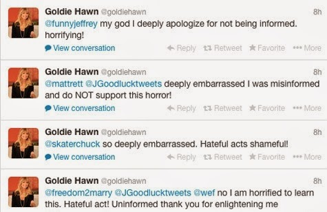 Hollywood Activist Goldie Hawn Described President Jonathan as 'A Wonderful President of Nigeria' Based On Anti-gay Law