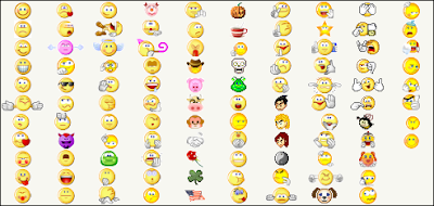 sejumlah modifikasi emoticon menjadi sebuah gambar lucu, yang bergerak