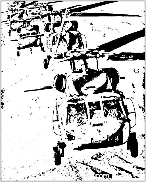 Image of Black Hawk Helicopter to color.