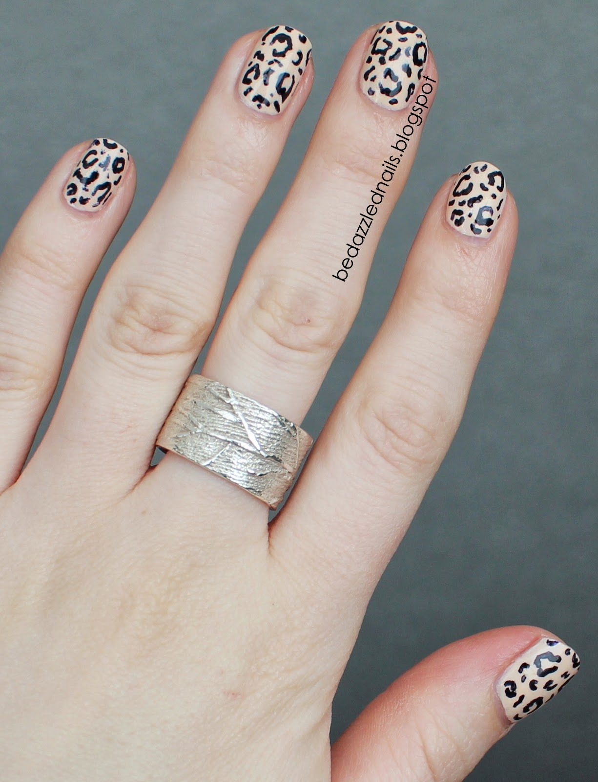 Bedazzled Nails Nude Animal Print