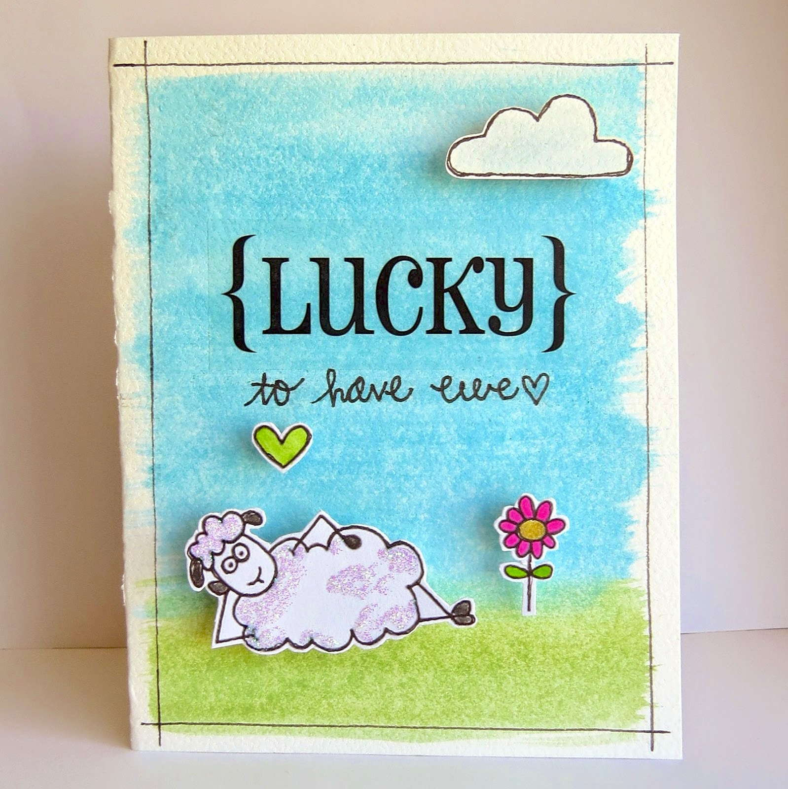 SRM Stickers Blog - So {LUCKY} to Have Ewe by Shannon - #card #lucky #stickers #janesdoodles #seamussheep #clearstamps