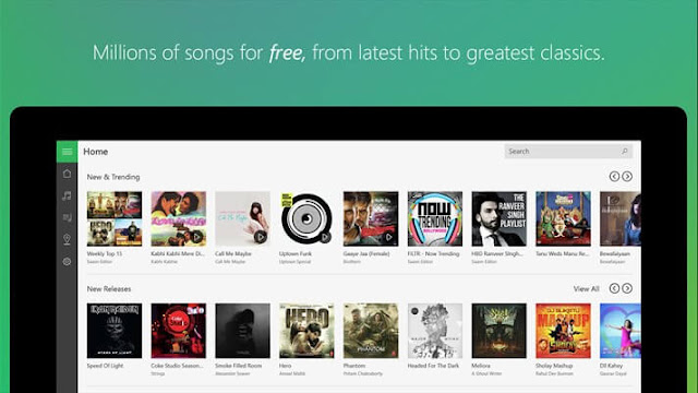 Saavn app UI on Windows 10