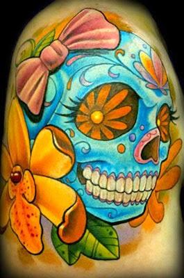 Tatuagens de caveiras mexicanas para mulheres