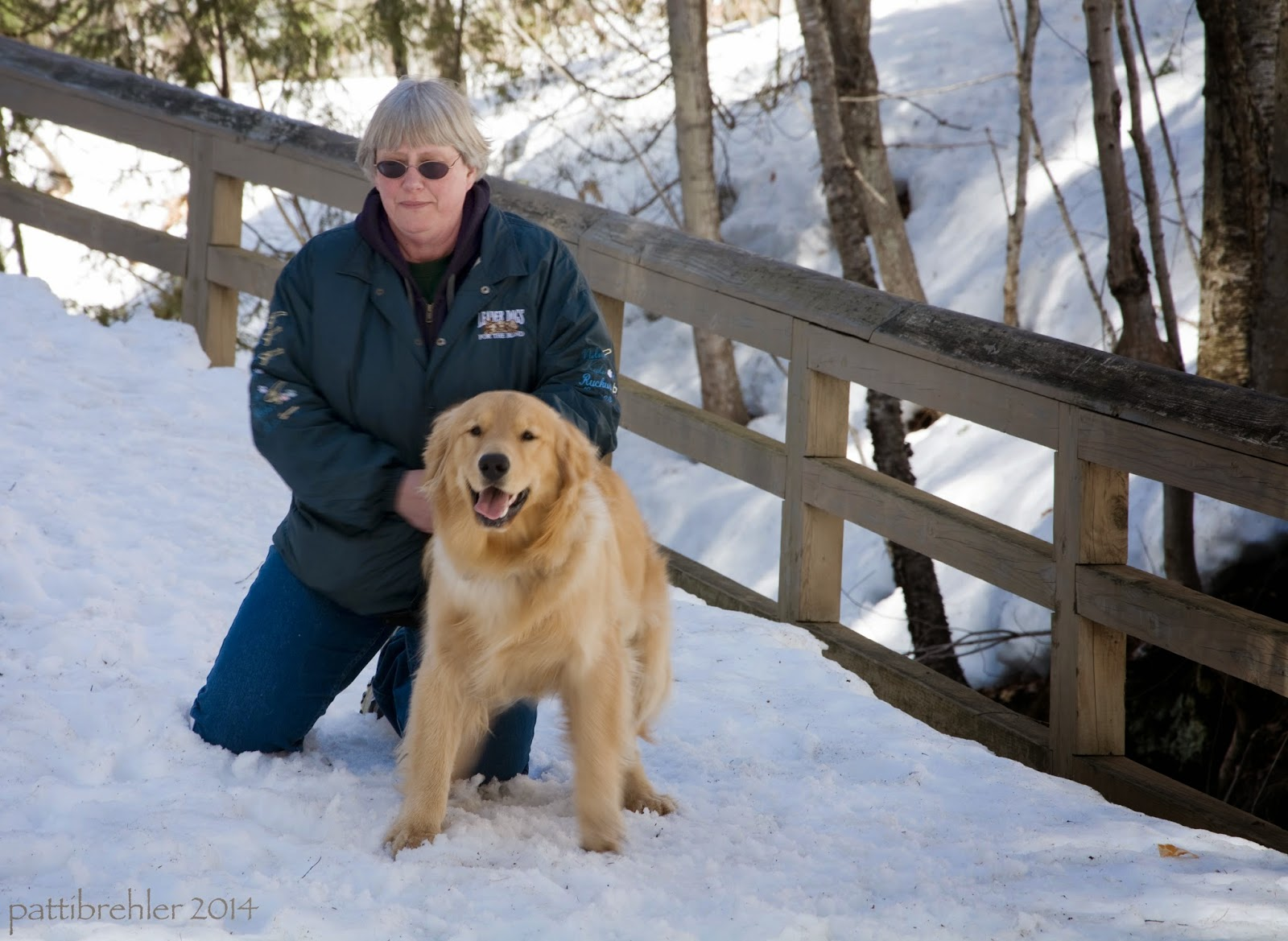 A woman dressed all in blue wearing sunglasses appears to be kneeling on a snowcovered path with a golden retriever in front of her. There is a wooded fence along the path with trees in the background.
