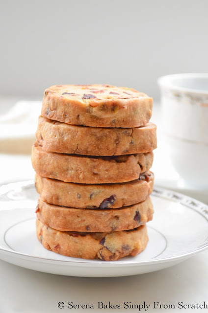 Orange Cranberry Pistachio Shortbread Cookies are a Christmas time favorite. serenabakessimplyfromscratch.com