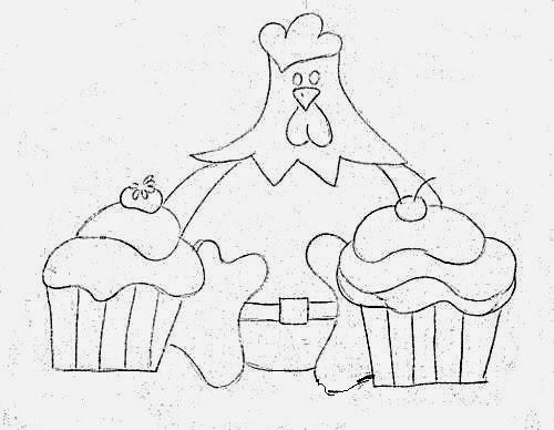 desenho de  galinha com cupcakes