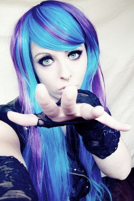 Blue Emo Girl with Purple Hair
