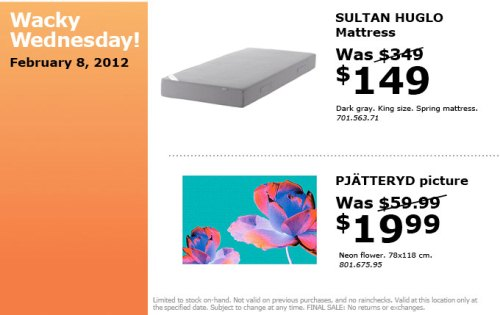 Canadian daily deals ikea canada wacky wednesday deals for Ikea sultan huglo