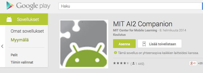 https://play.google.com/store/apps/details?id=edu.mit.appinventor.aicompanion3&hl=fi