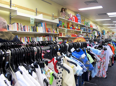 Children's clothing section of Vinnies' Queanbeyan opshop.