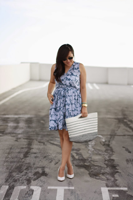 simplyxclassic, gap floral dress, gap, floral dress, striped beach bag, beach bag, gap style, gap, casual look, ootd, summer outfit, mommy blogger, fashion blogger, orange county, california
