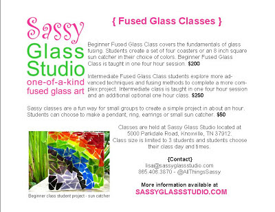 Sassy Glass Studio, fused glass class, jewelry, rings, pendants, suncatchers, earrings, one-of-a-kind fused glass art, classes, learning, creating, craft, art, Knoxville, Lisa Mueller, Lisa Gifford Mueller
