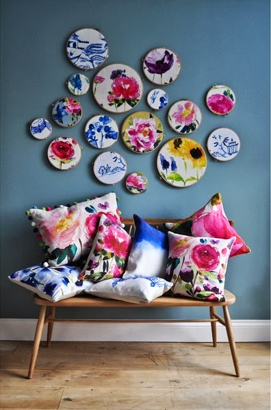 modern and artistic floral print cushions and pictures