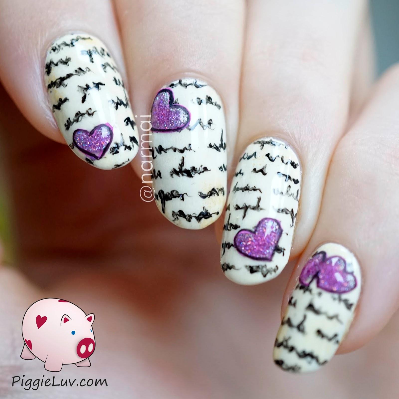 piggieluv: love letter nail art - hpb valentine's day linkup