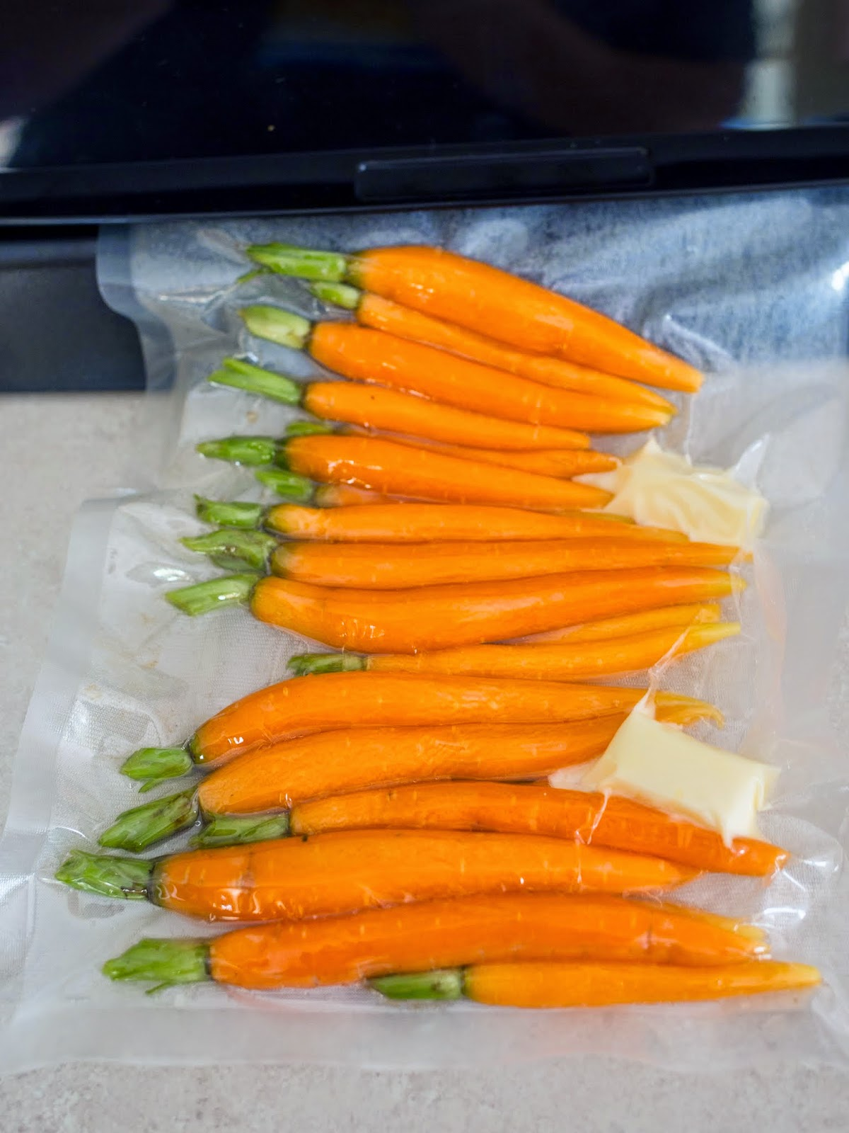 Vacuum Sealing Carrots for Sous Vide