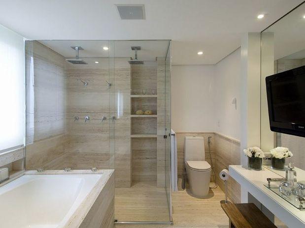 decoracao banheiro nicho : decoracao banheiro nicho:material de revestimento do piso, das paredes e da bancada é o