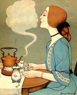illustration of a lady having tea at a table by peter newell