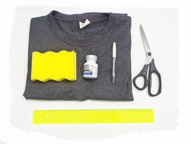 customização de camiseta masculina, material necessario