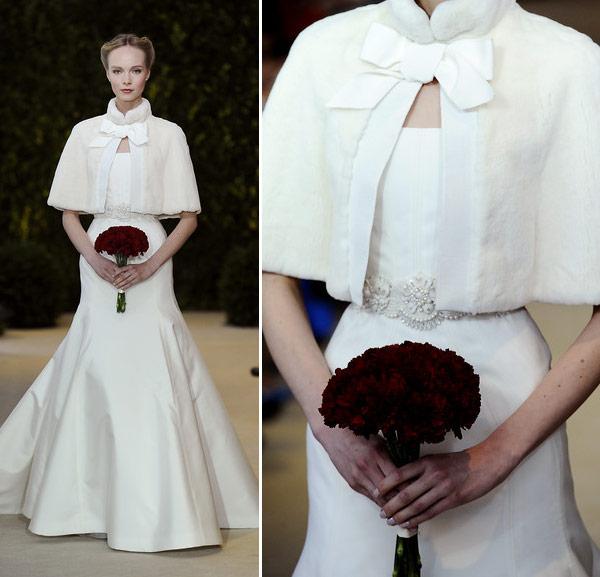 A coleção Spring 2014 de vestidos de noiva de Carolina Herrera explorou o