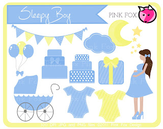 Baby Boy Shower Clip Art Scrapbook Set In Blue And Yellow. Includes Images  Of Cakes, Onesies, Blue Baby Carriage, Onesies, Pregnant Girl, Blue  Balloons, ...