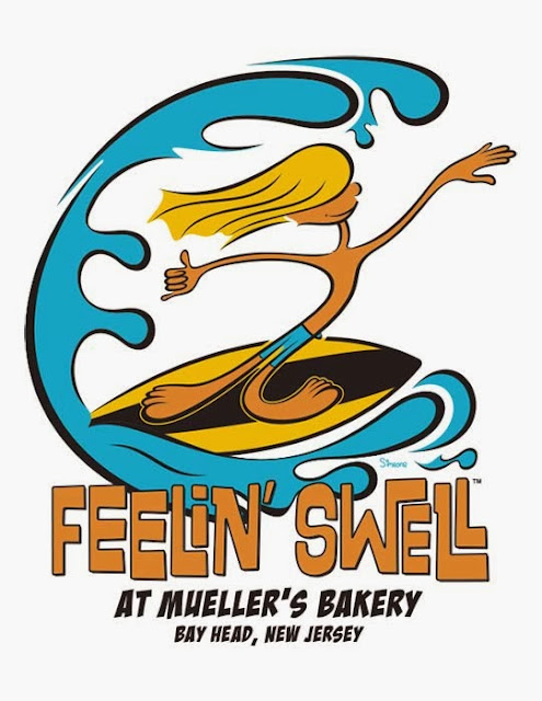 Feelin Swell at Mueller's Bakery Cartoon Surfer