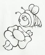 Desenho de flor e abelha para colorir. Desenho de florzinha com abelha para .