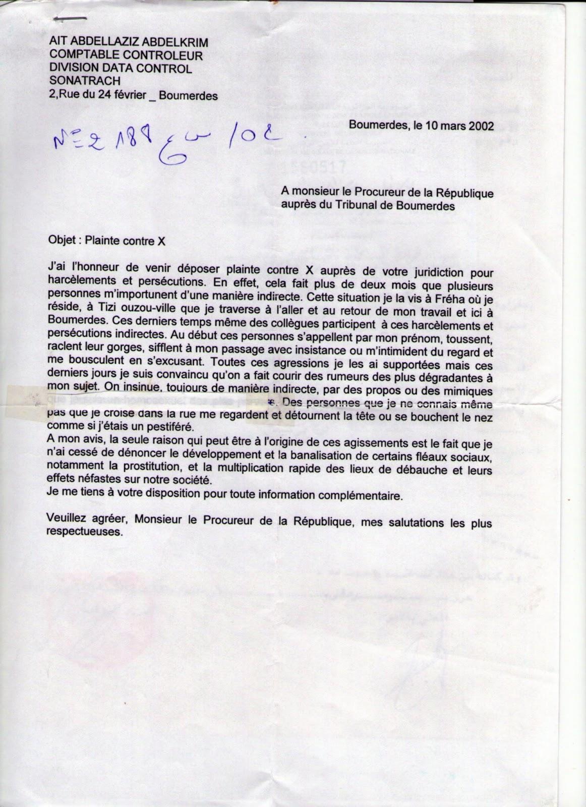 Porte documents documents joints la lettre que j 39 ai - Porter plainte aupres du procureur de la republique ...