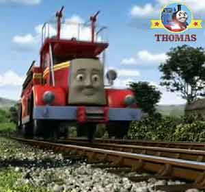 Courageous Island of Sodor Thomas train and friends Flynn the fire engine rescue shinny bright red