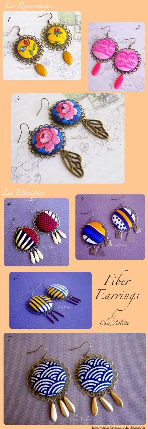 Fiber Earrings - Boucles d'oreilles en tissu par Chez Violette