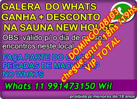 ENCONTRO DO PEGADAS DE MACHOS SP na sauna new house Domingo 08/03