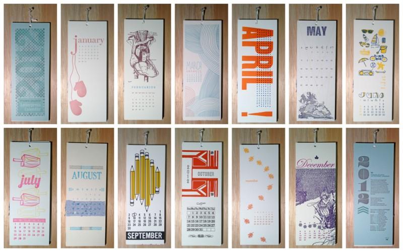 Calendar For Sale : Pyramid atlantic letterpress calendar