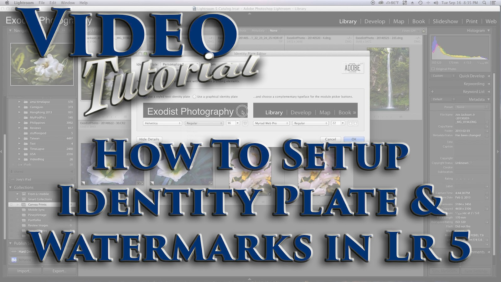 Learn How To Setup Identity Plate & Watermarks In Lr 5