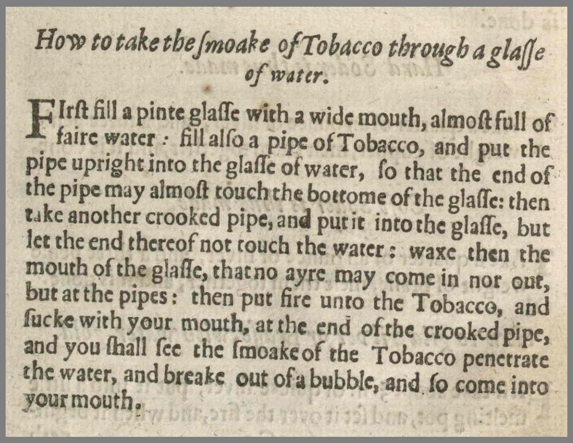 Renaissance bong instructions in text