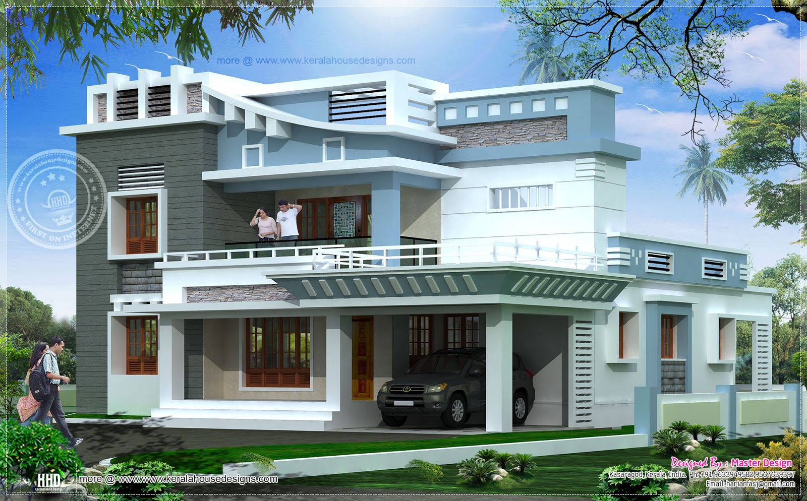 2547 square feet exterior home elevation kerala home for Exterior design building