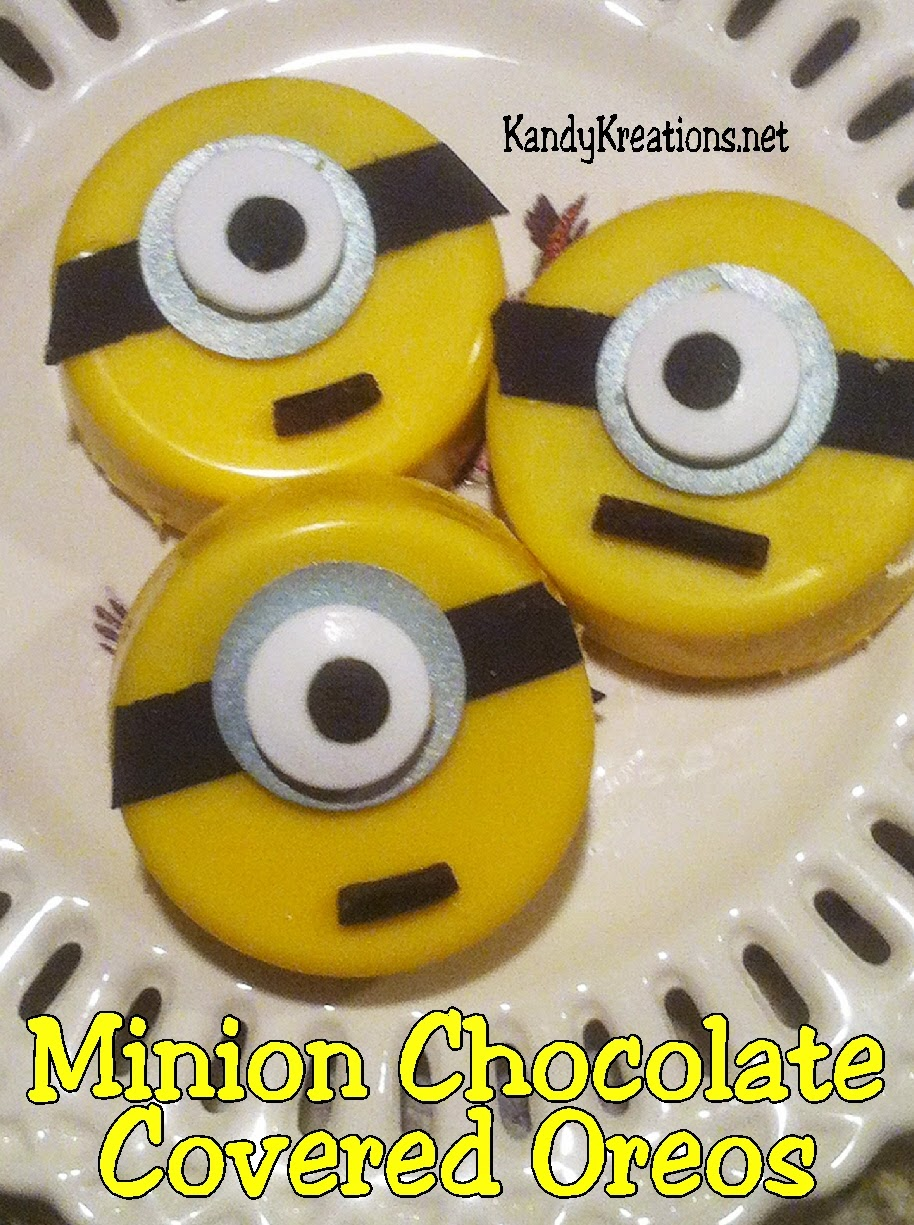 Bring these Chocolate Covered Oreos to your Minion party with a few easy ingredients and simple steps.  Your guests will love these Minion chocolate covered oreos and be glad to have their own Gru in their midst.